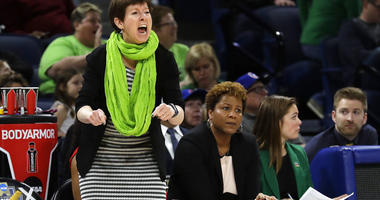 Notre Dame head coach Muffet McGraw yells during the first half of a regional semifinal game against the Texas A&M in the NCAA women's college basketball tournament, Saturday, March 30, 2019, in Chicago.
