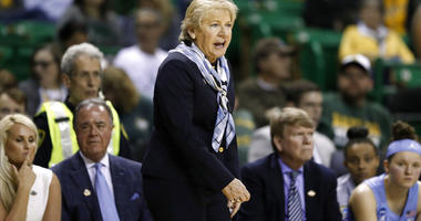 North Carolina head coach Sylvia Hatchell instructs her team in the second half of a first round women's college basketball game in the NCAA Tournament in Waco, Texas, Saturday March 23, 2019.