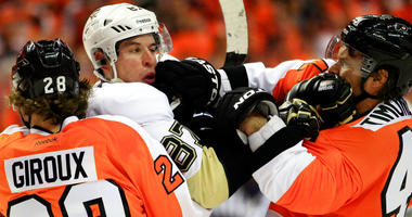 Pittsburgh Penguins Sidney Crosby, Philadelphia Flyers Claude Giroux, Kimmo Timonen