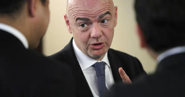 FIFA President Gianni Infantino speaks with participants of the Asian Football Confederation (AFC) meeting in Moscow, Russia