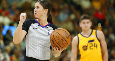 referee Natalie Sago works during the second half of an NBA basketball game