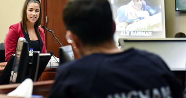 Former Olympian Aly Raisman confronts Larry Nassar during victim impact statements in the fourth day of sentencing in Lansing, Mich