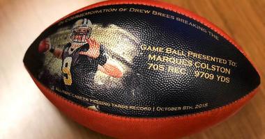 New Orleans Saints shows a custom made football
