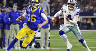 Los Angeles Rams quarterback Jared Goff. At right, Dallas Cowboys quarterback Dak Prescott