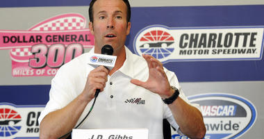 J.D. Gibbs, president of Joe Gibbs Racing, speaks during a news conference before the NASCAR Nationwide auto race