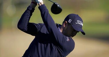Justin Thomas tees off on the ninth hole as third round play continues during the Genesis Open golf tournament at Riviera Country Club on Sunday, Feb. 17, 2019, in the Pacific Palisades area of Los Angeles.