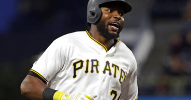 Pittsburgh Pirates' Gregory Polanco rounds third base after hitting a two-run home run off Texas Rangers starting pitcher Adrian Sampson during the fifth inning of a baseball game in Pittsburgh, Tuesday, May 7, 2019.