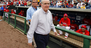 Philadelphia Phillies President and CEO David Montgomery, right, visits Bright House Field before a spring training baseball game against the New York Yankees in Clearwater, Fla. The Phillies say the team's chairman has passed away after a lengthy battle