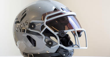 a VICIS Zero1 helmet is displayed in New York.