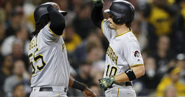 Pittsburgh Pirates' Bryan Reynolds, right, is greeted by Josh Bell after hitting a two-run home run during the fourth inning of the team's baseball game against the San Diego Padres, Friday, May 17, 2019, in San Diego.