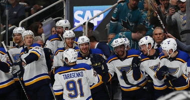 St. Louis Blues' Vladimir Tarasenko (91) celebrates a goal with the bench in the second period in Game 5 of the NHL hockey Stanley Cup Western Conference finals against the San Jose Sharks in San Jose, Calif., on Sunday, May 19, 2019.