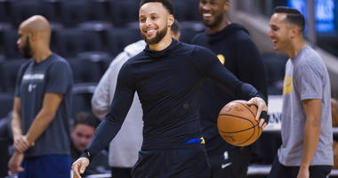 Golden State Warriors guard Stephen Curry smiles during practice for the NBA Finals against the Toronto Raptors in Toronto, Wednesday, May 29, 2019. Game 1 of the NBA Finals is Thursday in Toronto.