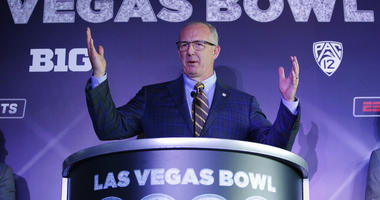 SEC Commissioner Greg Sankey speaks during a news conference to announce changes to the Las Vegas Bowl football game, Tuesday, June 4, 2019, in Las Vegas. The Las Vegas Bowl is moving to a new, bigger stadium next year, and will feature teams from the SEC