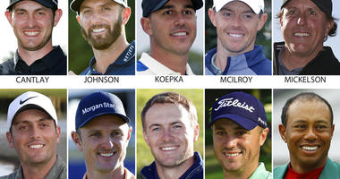 10 contenders for the U.S. open golf tournament. They are: Patrick Cantlay, Dustin Johnson, Brooks Koepka, Rory McIlroy, Phil Mickelson, Francesco Molinari, Justin Rose, Jordan Spieth, Justin Thomas and Tiger Woods.