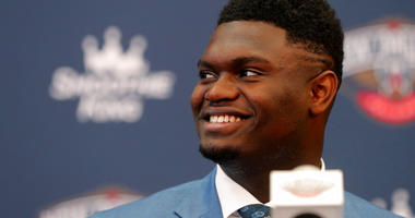 New Orleans Pelicans first-round NBA draft pick Zion Williamson smiles at his introductory news conference at the team's practice facility in Metairie, La., Friday, June 21, 2019.
