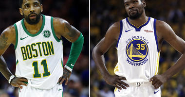 Boston Celtics' Kyrie Irving ; Golden State Warriors' Kevin Durant