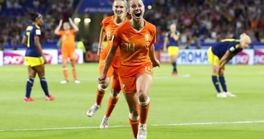 Netherlands' Jackie Groenen celebrates after scoring during the Women's World Cup semifinal soccer match between the Netherlands and Sweden, at the Stade de Lyon outside Lyon, France, Wednesday, July 3, 2019.