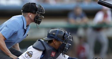 Home plate umpire during Atlantic League All-Star minor league baseball game