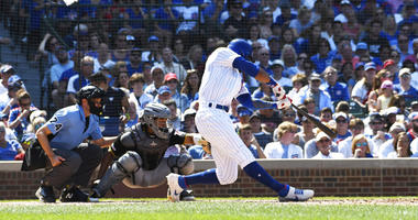 Chicago Cubs' Jason Heyward (22) hits a two-run home run against the Pittsburgh Pirates during the fifth inning of a baseball game, Sunday, July, 14, 2019, in Chicago.