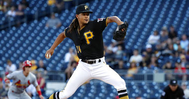 Pittsburgh Pirates starting pitcher Chris Archer delivers during the first inning of a baseball game against the St. Louis Cardinals in Pittsburgh, Tuesday, July 23, 2019.