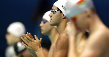 United States' Michael Andrew prepares to start in his men's 50m backstroke heat at the World Swimming Championships in Gwangju, South Korea, Saturday, July 27, 2019.
