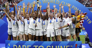United States team celebrates after winning the Women's World Cup final soccer match