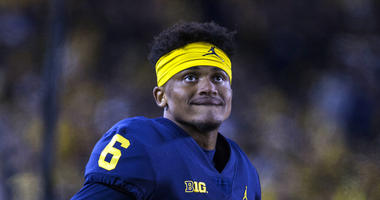 Michigan defensive back Myles Sims (6) watches from the sideline in the fourth quarter of an NCAA college football game against Penn State in Ann Arbor, Mich.