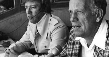 Marty Brennaman, left, and Joe Nuxhall in the Reds radio booth at Riverfront Stadium in Cincinnati.