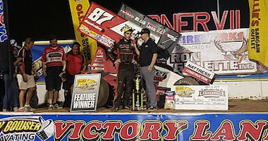 Aaron Reutzel In Victory Lane After Winning The All-Star Circuit Of Champions Main Event At Lernerville Speedway.