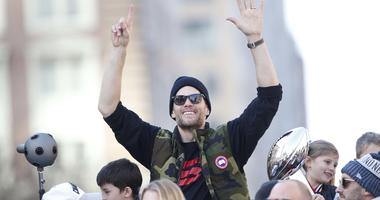 Tom Brady celebrates at the New England Patriots' Super Bowl parade
