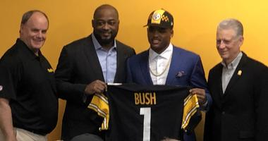 Kevin Colbert Mike Tomlin Devin Bush and Art Rooney II