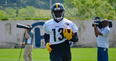 James Washington makes a catch in Steelers OTAs