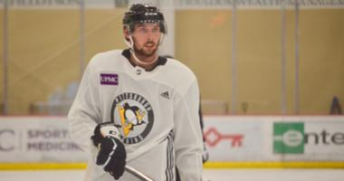 Penguins defenseman Marcus Pettersson at training camp in 2019