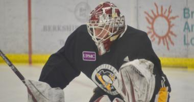 UMass goalie Matt Murray at Pens development camp in 2019