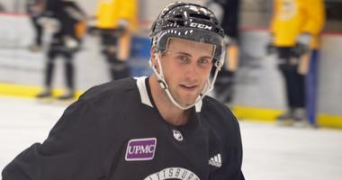 Penguins winger Tobias Lindberg participate in the team's prospect development camp in June 2018