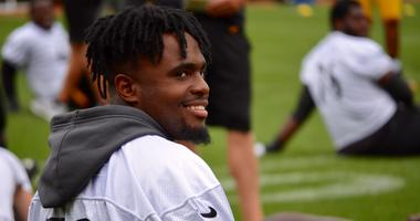 Steelers WR Diontae Johnson at practice in 2019