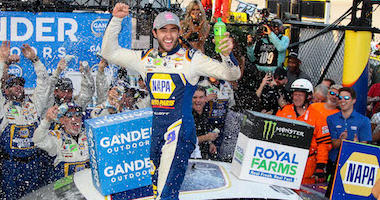 Chase Elliott Celebrates Atop The No. 9 NAPA Chevy After Winning the NASCAR Cup Series Gander Outdoors 400 At Dover International Raceway