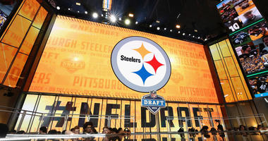 The Pittsburgh Steelers logo is seen on a video board during the first round of the 2018 NFL Draft