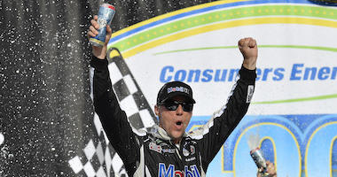 Stewart Haas Racing's Kevin Harvick Celebrates In Victory Lane At Michigan International Speedway