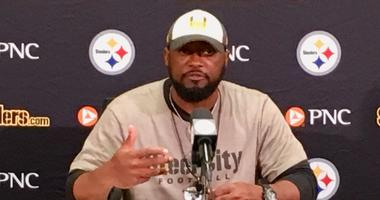 Steelers coach Mike Tomlin during a training camp press conference in 2018