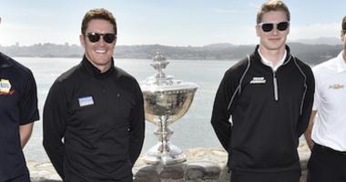 Alexander Rossi, Scott Dixon, Josef Newgarden, Will Power, IndyCar Championship Astor Cup Trophy