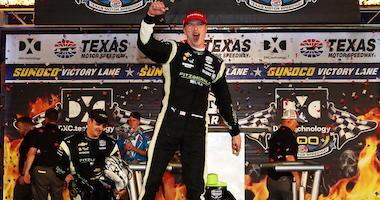 Team Penske's Josef Newgarden Celebrates In Victory Lane At Texas Motor Speedway