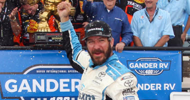 Martin Truex Jr. Celebrates Winning At Dover International Raceway