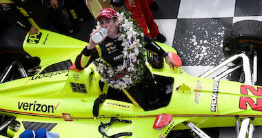 Team Penske's Simon Pagenaud Drinks The Milk In Victory Lane After Winning The 103rd Indianapolis 500
