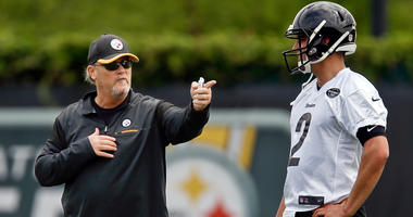 Pittsburgh Steelers' Randy Fichtner and Mason Rudolph