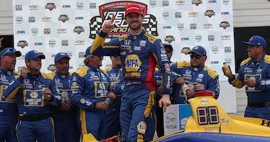 Alexander Rossi Celebrates With His NAPA Andretti Autosport Crew After Winning NTT IndyCar Series Rev Group Grand Prix At Road America