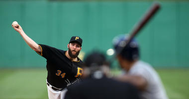 Pittsburgh Pirates starting pitcher Trevor Williams (34) pitches to Milwaukee Brewers first baseman Eric Thames (7) during the fourth inning at PNC Park.