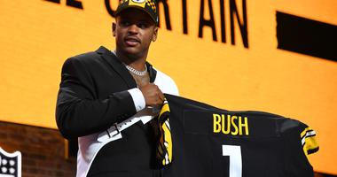 Devin Bush (Michigan) is selected as the number ten overall pick to the Pittsburgh Steelers in the first round of the 2019 NFL