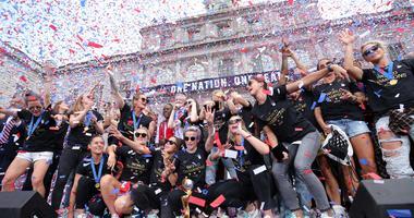 The United States women's national soccer team celebrates