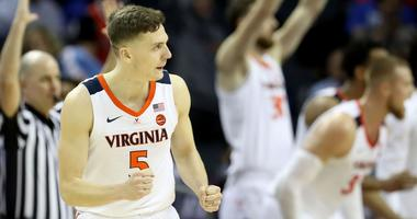 Virginia's Kyle Guy reacts after making a 3-pointer in the 2019 ACC tournament.